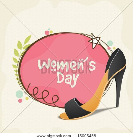 Greeting card design with stylish high heeled girl's sandal for Happy International Women's Day celebration.