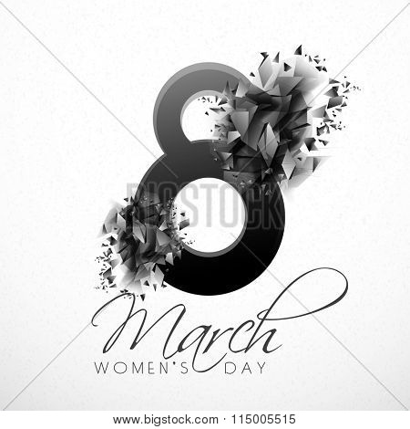 Stylish text 8 March with abstract design for Happy International Women's Day celebration.