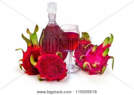 Full red Dragon Fruit wine glass goblet and bottle isolated on white background