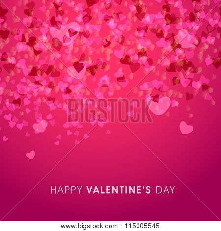 Elegant greeting card design decorated with beautiful hearts for Happy Valentine's Day celebration.
