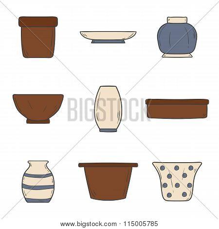 Hand drawn flowerpots