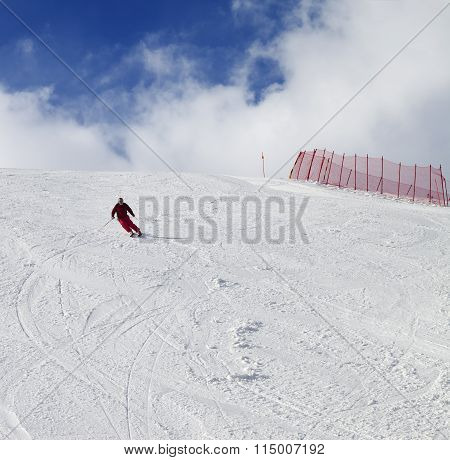 Skier On Ski Slope At Nice Sun Day