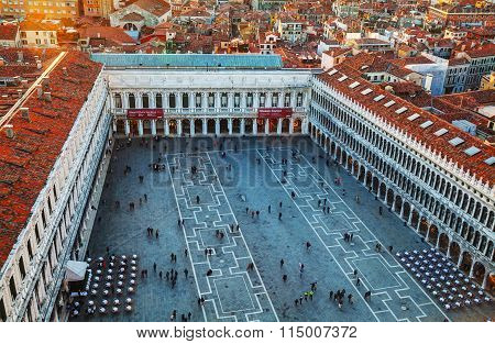 San Marco Square With Tourists In Venice