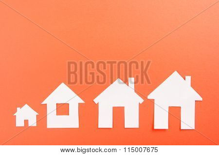 White paper house figure. Real Estate Concept. Top view.