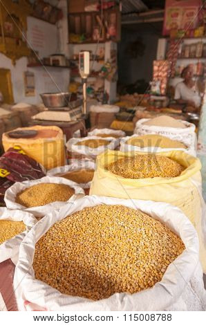 Lentils And Beans At The Indian Shop
