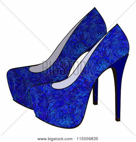 Blue bright modern high heels pump woman shoes with intricate oramental decor