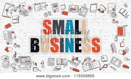Small Business in Multicolor. Doodle Design.