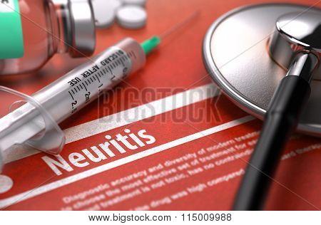Neuritis - Printed Diagnosis on Orange Background.