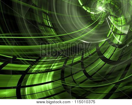 Abstract Green Computer-generated Image In Technology Style On D