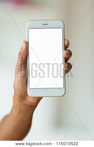 African American Person Holding A Tactile Mobile Smartphone
