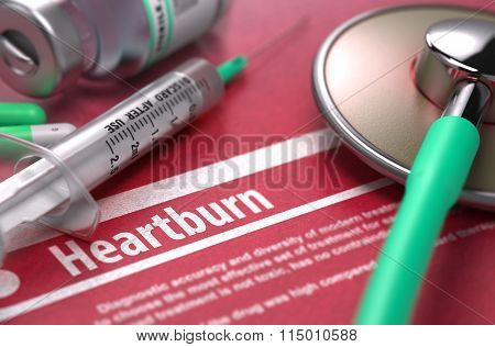 Heartburn - Printed Diagnosis on Red Background.