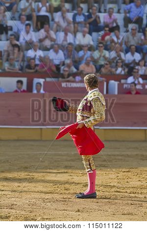 The Spanish Bullfighter Jose Luis Moreno provides to the public at the beginning of the Bullfight in