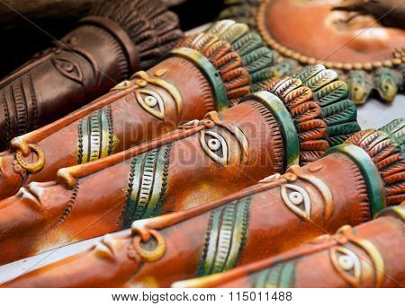 Hand crafted clay masks of India