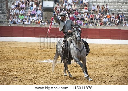 Antonio Domecq bullfighter on horseback spanish with rapier's death have to kill the bull during the