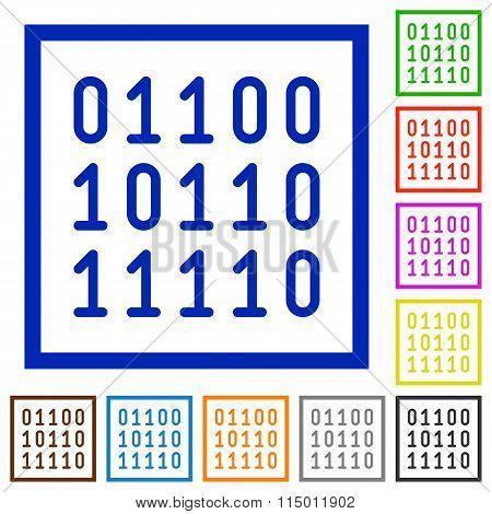 Binary Code Framed Flat Icons