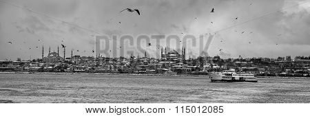 Panoramic sea view of the Topkapi Palace and Sultanahmet mosques on a snowy winter day