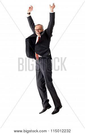 Senior Business Man Jumping