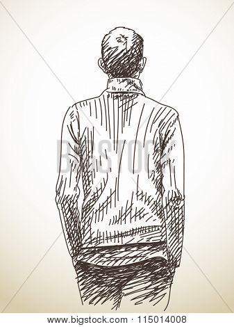Sketch of man from back with hands in his pockets, Hand drawn illustration