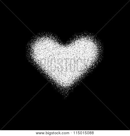 White Abstract Heart Sign With Metal Texture