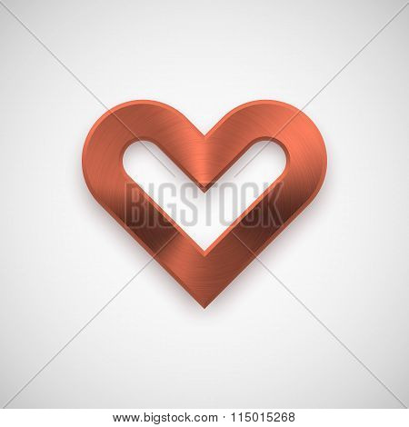 Bronze Abstract Heart Sign With Metal Texture