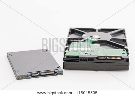 Hard Disk Next To Ssd Disk (solid State Drive)