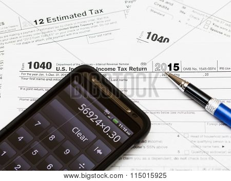 Usa Tax Form 1040 For Year 2015