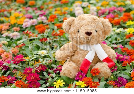 Teddy bear in flower garden