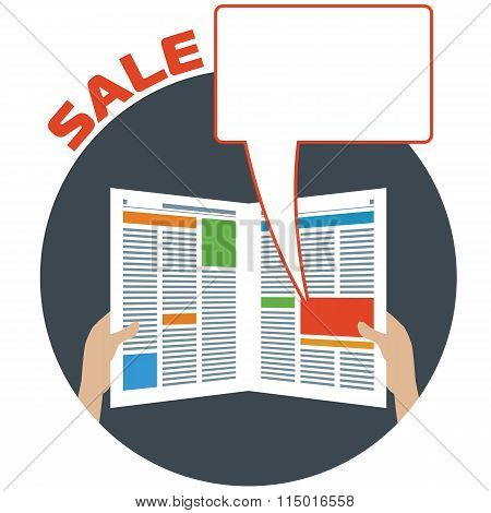 Advertising in the newspaper with speech bubble. Blank newspaper. Advertisement material. Sale bubble. Ad in paper. Newspaper ad. Layout of advertisement. Template ad in newspaper. Vector illustration