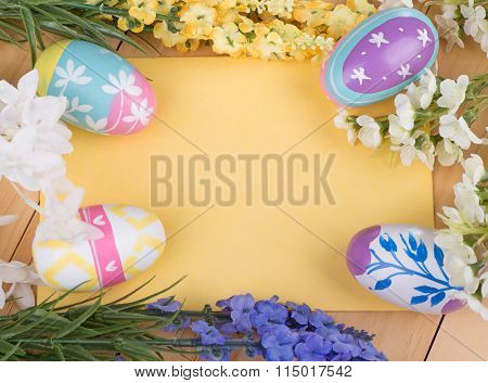 Easter Eggs And Flowers With Blank Envelope