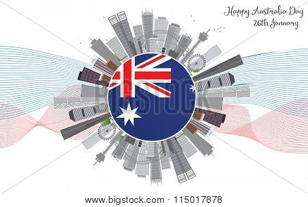 Australia Day Background with Gray Buildings. National Celebration Card with Copy Space and Lines. Vector Illustration