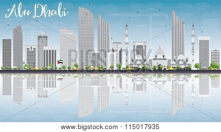 Abu Dhabi City Skyline with Gray Buildings, Blue Sky and Reflections. Vector Illustration. Business Travel and Tourism Conceptwith Modern Buildings. Image for Presentation, Banner, Placard and Web.