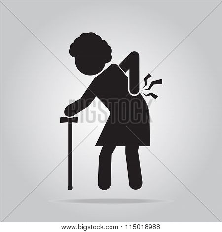 Elderly Woman With Stick And Injury Of The Back Pain Icon.