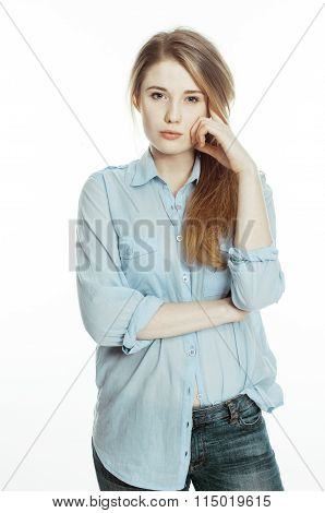 cute young pretty girl thinking on white background isolated close up, crazy emotional goofy fooling
