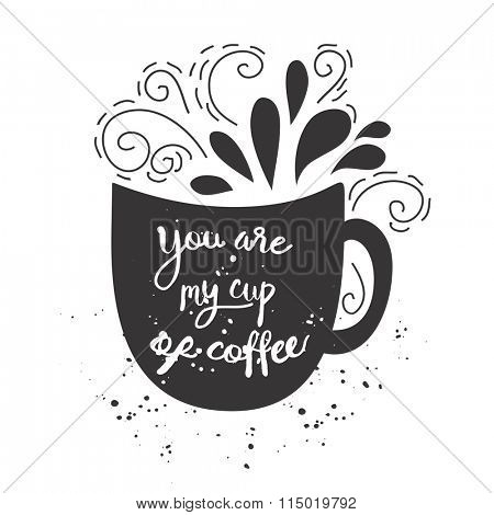 Vector vintage style card with cup silhouette and  text