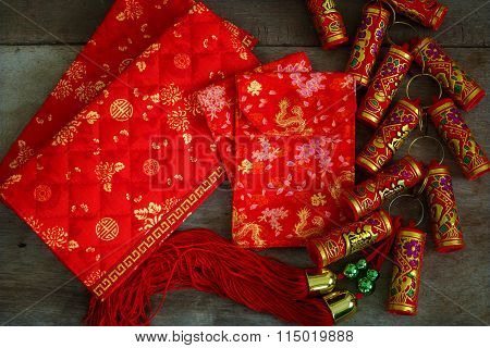 Chinese Lucky Pouches With Firecrackers Prepared For A Chinese New Year