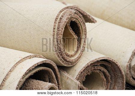stacking carpet rolls