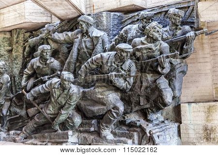 Soviet Soldiers Attacking World War 2 Monument Great Patriotic War Museum Kiev Ukraine