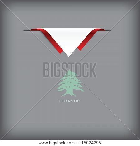 Lebanon Banner With Flag