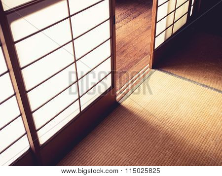 Tatami Floor With Door Panel Japanese Style Room Interior Details