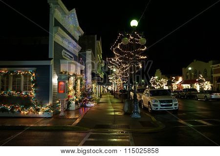 Main Street Decorated for Christmas