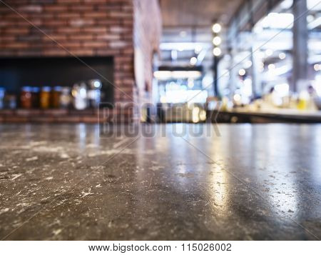 Table Top With Brick Oven Pizza Restaurant Background