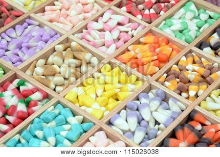 colorful candy corn box display at market place