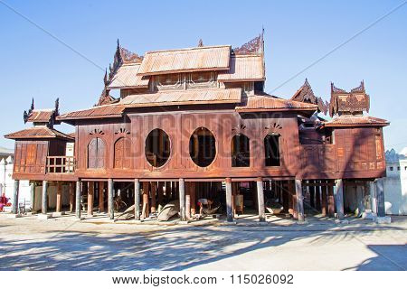 Wooden Nyan Shwe Kgua temple near Inle lake in Myanmar