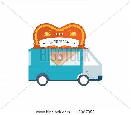 Machine delivery postcard heart. Valentine's Day.