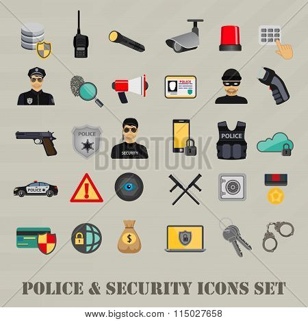 Vector security police icons set, web bank safety