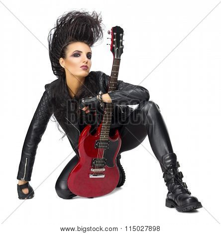 Punk rock musician isolated on white