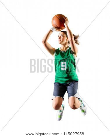 Young girl basketball player isolated