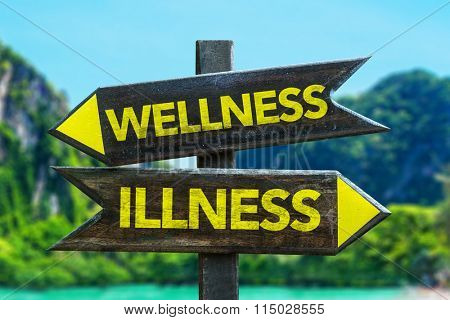 Wellness - Illness signpost in a beach background