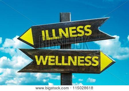 Wellness - Illness signpost with sky background