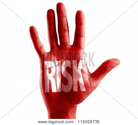 Risk written on hand isolated on white background